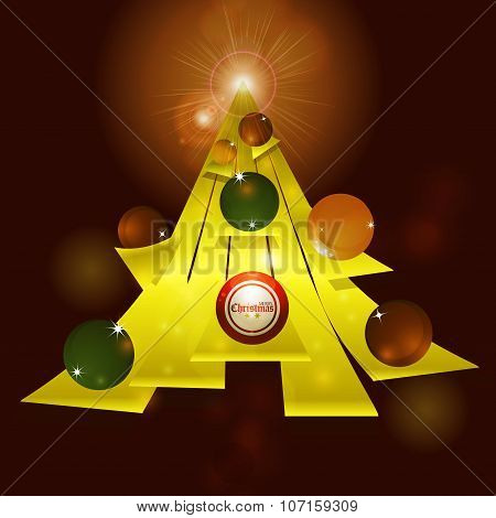 Abstract Christmas Tree And Baubles Background