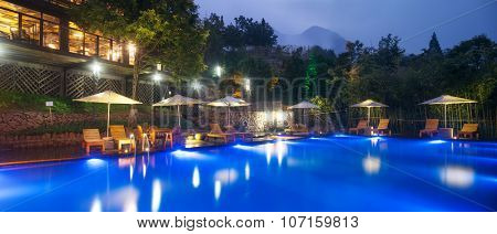hotel outdoor landscape with pool