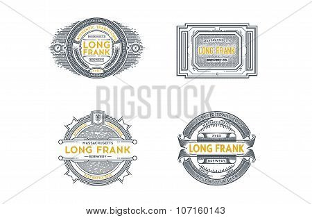 Set Of Retro Vintage Beer Badges, Labels, Logos. Stock Vector.