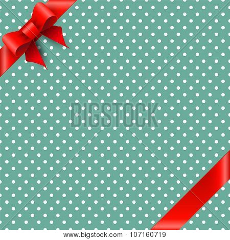 Bow and ribbon on green background