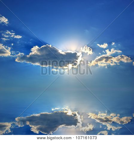 Sea landscape. Blue sky background