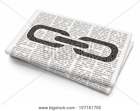 Web design concept: Link on Newspaper background