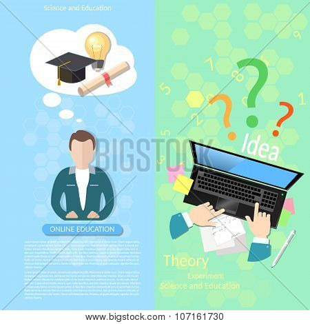 Online Education Teacher Distance Tutorials Student Lecturer Lessons University College  banners