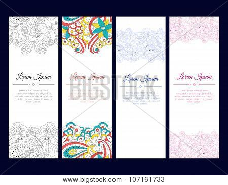 Set Of Cards Or Banners With Colorful Zentangle