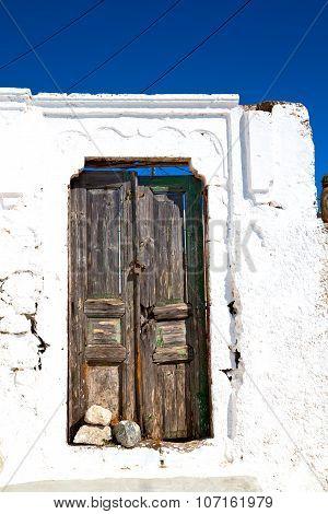 Blue  In Antique Village Santorin Wall