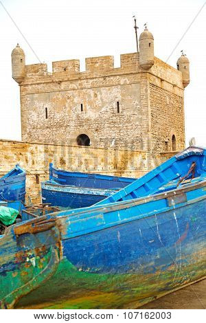 Boat And Sea In Africa Morocco Old Castle Brown