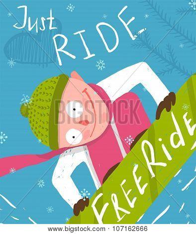 Snowboard Funny Free Rider Jump Fun Poster Design