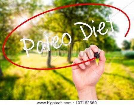 Man Hand writing Paleo Diet with black marker on visual screen