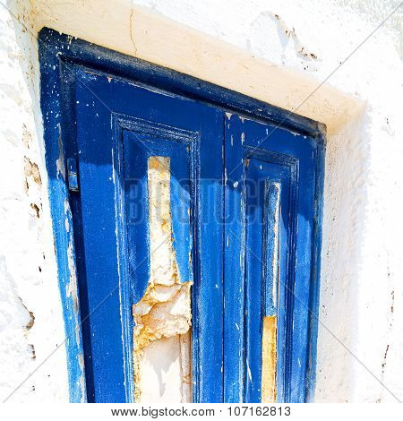 Blue Door In Antique Village Santorini Greece Europe And    White Wall