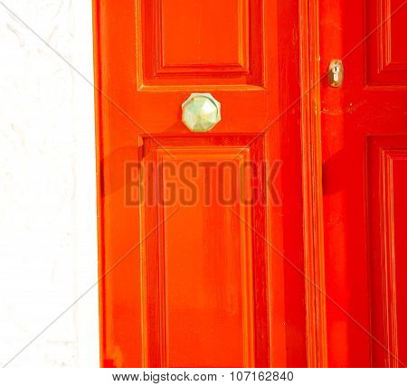 White  Red Brown  Door In Antique Village Santorini Greece Europe And    Wall