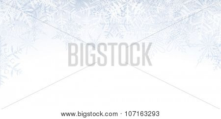 Winter banner pattern with crystallic transparent snowflakes and place for text. Christmas background. Vector.