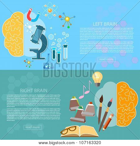 Left And Right Brain Art And Creativity Of Logic And Analysis Creative Concept Vector Banners