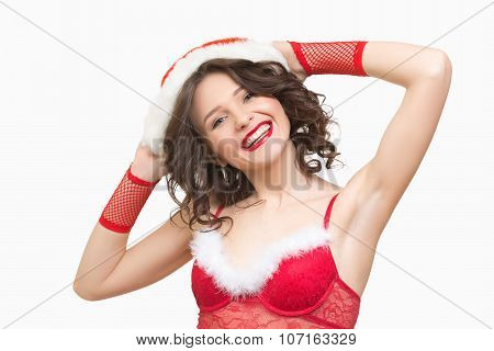 Christmas portrait of beautiful santa girl.