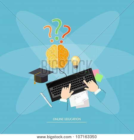 Online Education Distance Learning Vector Concept