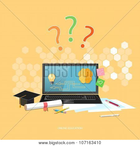 Online Education Distance Learning School University E-learning Concept