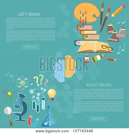 Left And Right Side Of The Brain Logic And Creativity Back To School Sciences And Arts Vector Banner