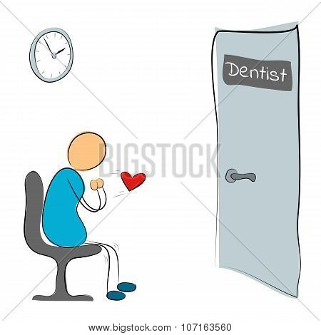 Man Sitting Near Door Of The Dentist
