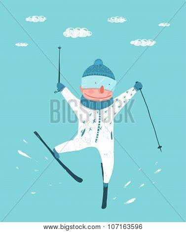 Funny Colorful Skier Performing Jump Stunt Cartoon