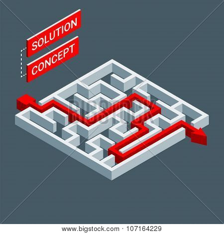 Isometric Maze, Labyrinth Solution Concept. Modern Infographic Template. Isometric Vector Illustrati