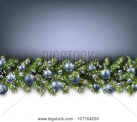 Christmas card with fir branch and balls. Vector paper illustration.