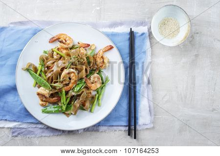 King Prawns with Rice Noodles and Vegetable on Plate