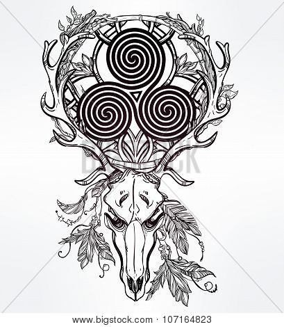 Deer skull with Celtic triskel.