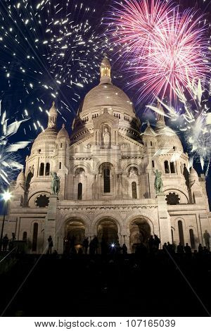 New Year In Paris - Sacre Coeur and fireworks