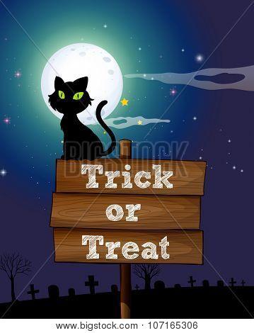 Black cat sitting on the sign at night illustration