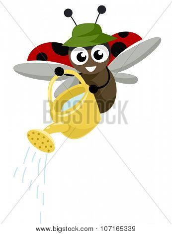 Illustration of a Cute Ladybug Carrying a Watering Can