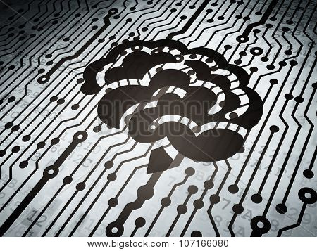 Healthcare concept: circuit board with Brain