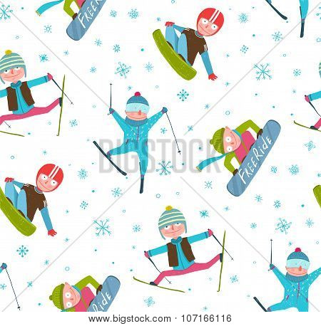 Skier Snowboarder Winter Sport Cartoon Seamless Pattern Background