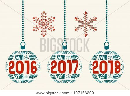 New Year design elements for years 2016 - 2018