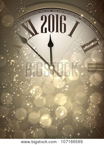 2016 New Year sepia background with clock. Vector paper illustration.