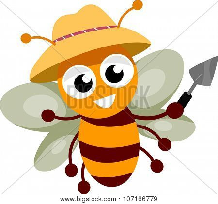 Illustration of a Happy Bee Wearing a Gardening Hat and Holding a Trowel