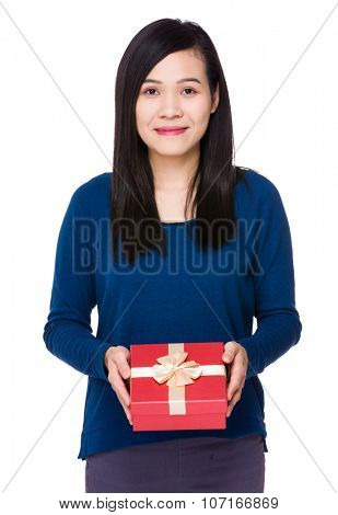 Young asian woman hold with present box