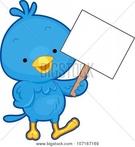 Illustration of a Blue Bird Holding a Blank Board