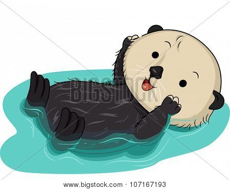Illustration of a Cute Sea Otter Floating on Water