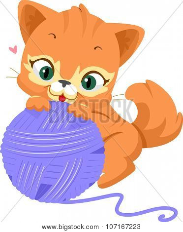 Illustration of a Cute Cat Playing with a Ball of Yarn