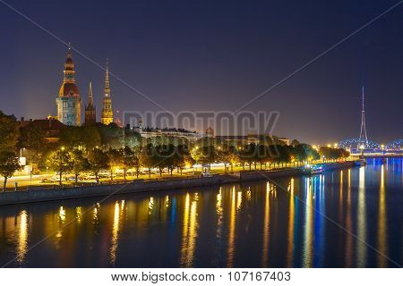 Old Town and River Daugava at night, Riga, Latvia