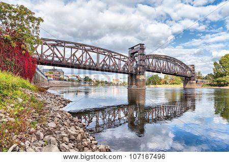 Old Railroad Bridge In Magdeburg