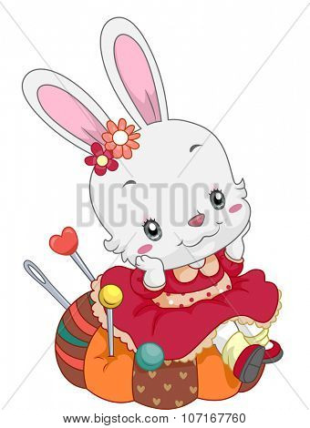 Illustration of a Cute Bunny Sitting on a Pin Cushion