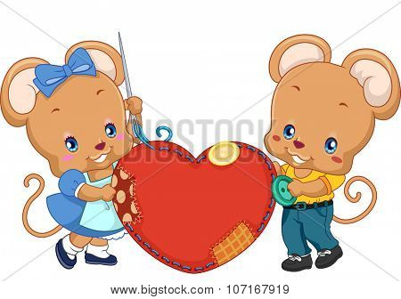 Illustration of a Pair of Mice Holding a Heart Shaped Cushion