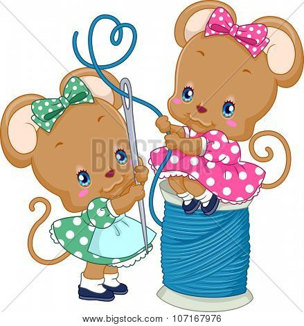 Illustration of a Pair of Cute Mice Threading a Needle