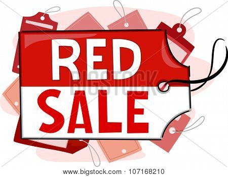 Illustration Featuring Red Tags for a Mall Sale