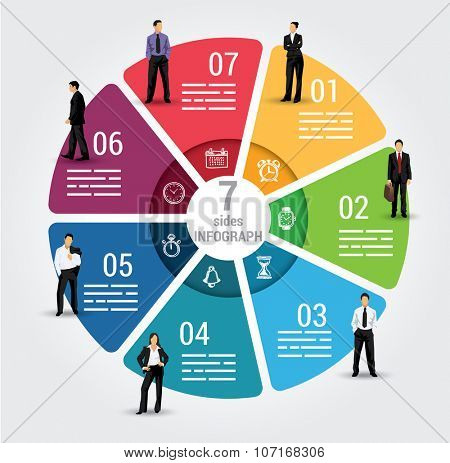 Seven sides infographic template, a vector chart with 7 options used for web, banners, reports, presentation and brochures.