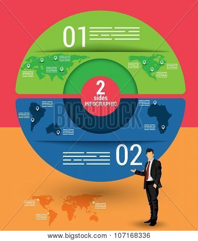 Two sides infographic template, a vector chart with 2 options used for web, banners, reports, presentation and brochures.