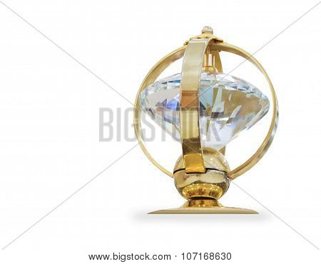 Futuristic golden prize isolated over white