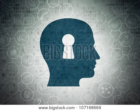 Education concept: Head With Keyhole on Digital Paper background