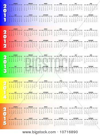 Five-year Calendar 2011-2015 - Sunday Start