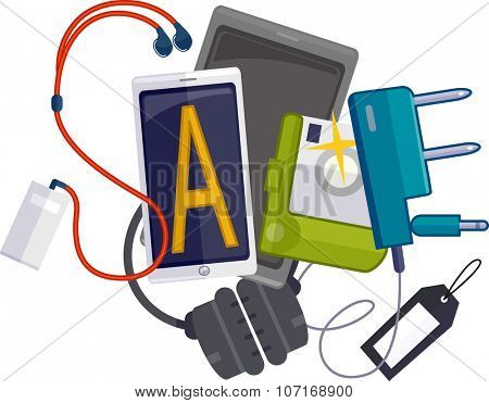 Illustration Featuring Different Gadgets Forming the Word Sale